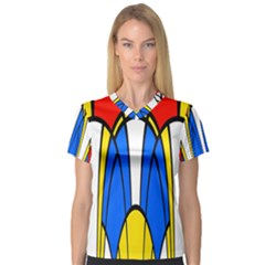 Colorful Distorted Shapes Women s V Neck Sport Mesh Tee