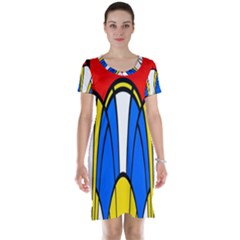 Colorful distorted shapes Short Sleeve Nightdress