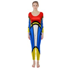 Colorful distorted shapes  Long Sleeve Catsuit