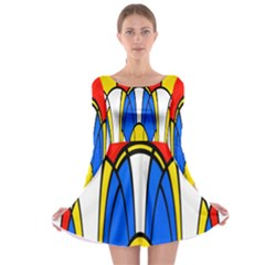 Colorful distorted shapes Long Sleeve Skater Dress