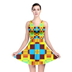 Abstract yellow flowers Reversible Skater Dress