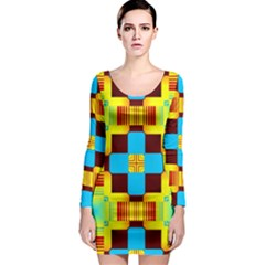 Abstract yellow flowers Long Sleeve Bodycon Dress