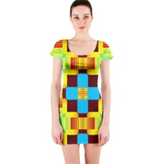 Abstract yellow flowers Short sleeve Bodycon dress