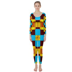 Abstract Yellow Flowers  Long Sleeve Catsuit