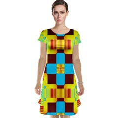 Abstract Yellow Flowers Cap Sleeve Nightdress
