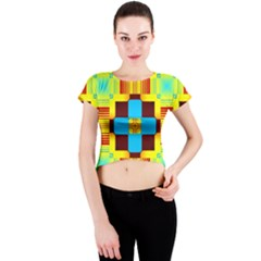 Abstract yellow flowers Crew Neck Crop Top