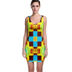 Abstract Yellow Flowers Bodycon Dress