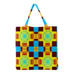 Abstract yellow flowers Grocery Tote Bag