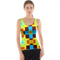 Abstract Yellow Flowers Tank Top