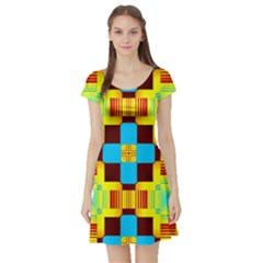 Abstract yellow flowers Short Sleeve Skater Dress