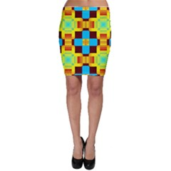Abstract Yellow Flowers Bodycon Skirt