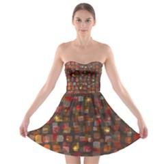 Floating Squares strapless Bra Top Dress