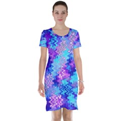 Blue and Purple Marble Waves Short Sleeve Nightdresses