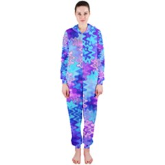 Blue and Purple Marble Waves Hooded Jumpsuit (Ladies)