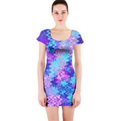 Blue and Purple Marble Waves Short Sleeve Bodycon Dresses