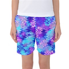 Blue and Purple Marble Waves Women s Basketball Shorts