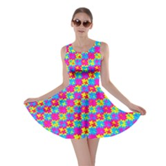 Crazy Yellow and Pink Pattern Skater Dresses