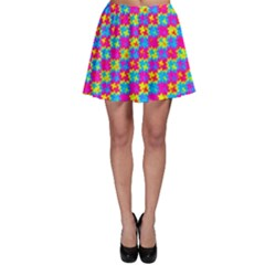 Crazy Yellow and Pink Pattern Skater Skirts
