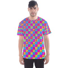 Crazy Yellow and Pink Pattern Men s Sport Mesh Tees