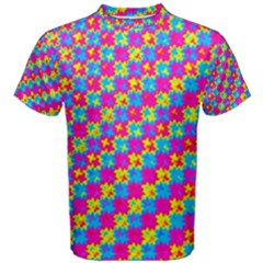Crazy Yellow And Pink Pattern Men s Cotton Tees
