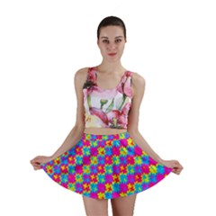 Crazy Yellow and Pink Pattern Mini Skirts