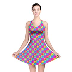 Crazy Yellow and Pink Pattern Reversible Skater Dresses