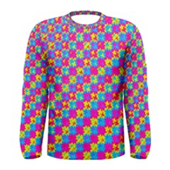 Crazy Yellow and Pink Pattern Men s Long Sleeve T-shirts