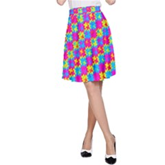 Crazy Yellow and Pink Pattern A-Line Skirts