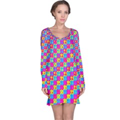 Crazy Yellow and Pink Pattern Long Sleeve Nightdresses