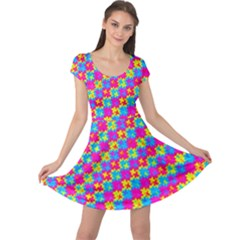 Crazy Yellow And Pink Pattern Cap Sleeve Dresses