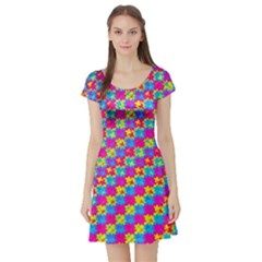 Crazy Yellow And Pink Pattern Short Sleeve Skater Dresses