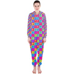 Crazy Yellow and Pink Pattern Hooded Jumpsuit (Ladies)