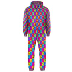 Crazy Yellow and Pink Pattern Hooded Jumpsuit (Men)