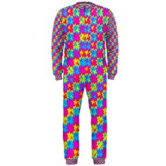 Crazy Yellow and Pink Pattern OnePiece Jumpsuit (Men)