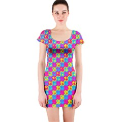 Crazy Yellow and Pink Pattern Short Sleeve Bodycon Dresses