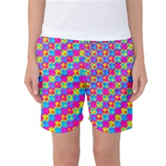 Crazy Yellow And Pink Pattern Women s Basketball Shorts