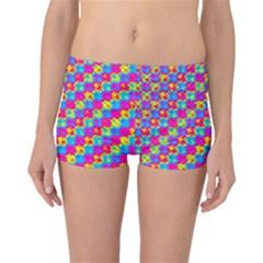Crazy Yellow and Pink Pattern Boyleg Bikini Bottoms