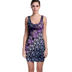 Dusk Blue And Purple Fractal Bodycon Dress