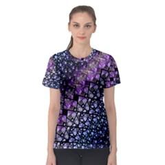 Dusk Blue and Purple Fractal Women s Sport Mesh Tee