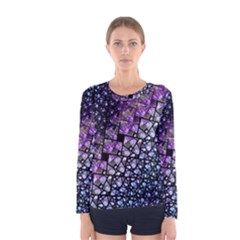 Dusk Blue and Purple Fractal Women s Long Sleeve T-shirt