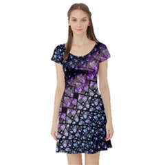Dusk Blue and Purple Fractal Short Sleeve Skater Dress