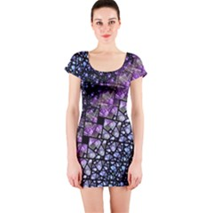 Dusk Blue and Purple Fractal Short Sleeve Bodycon Dress