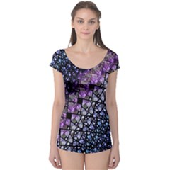 Dusk Blue And Purple Fractal Boyleg Leotard (ladies)