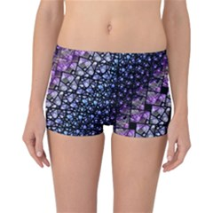 Dusk Blue And Purple Fractal Reversible Boyleg Bikini Bottoms