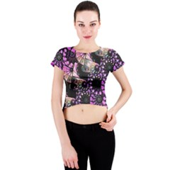 Hippy Fractal Spiral Stacks Crew Neck Crop Top