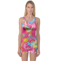Hippy Peace Swirls One Piece Boyleg Swimsuit