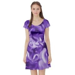 Lavender Smoke Swirls Short Sleeve Skater Dress