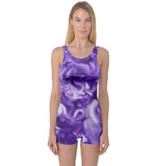Lavender Smoke Swirls One Piece Boyleg Swimsuit