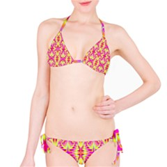 Pink And Yellow Rave Pattern Bikini