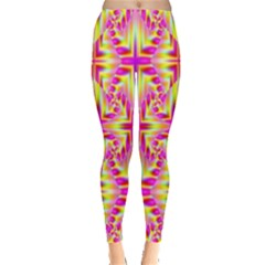 Pink And Yellow Rave Pattern Leggings